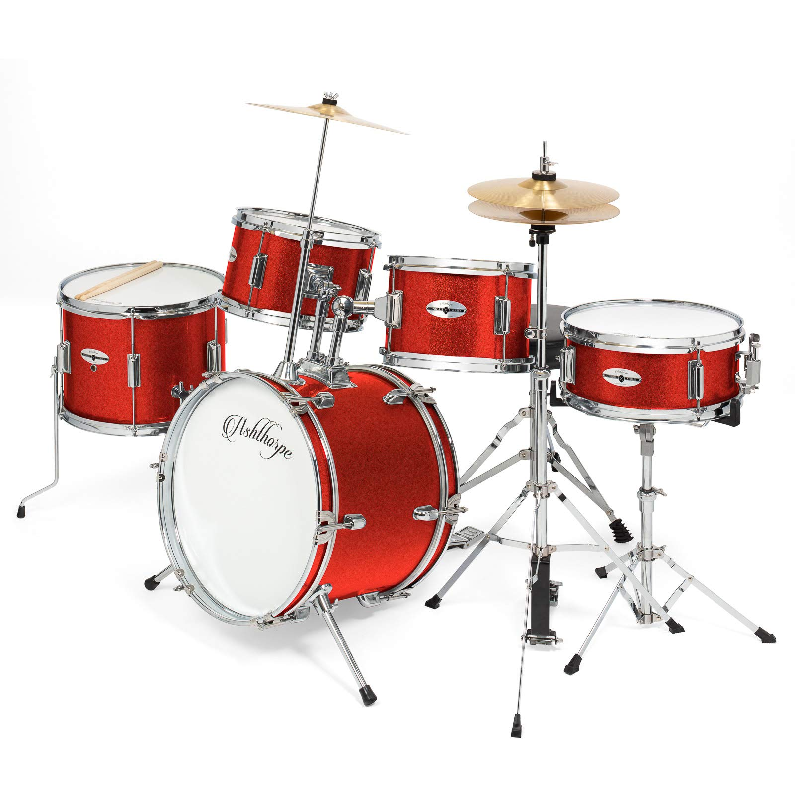 Ashthorpe 5-Piece Complete Kid's Junior Drum Set with Genuine Brass Cymbals - Children's Professional Kit with 16'' Bass Drum, Adjustable Throne, Cymbals, Hi-Hats, Pedals & Drumsticks - Red