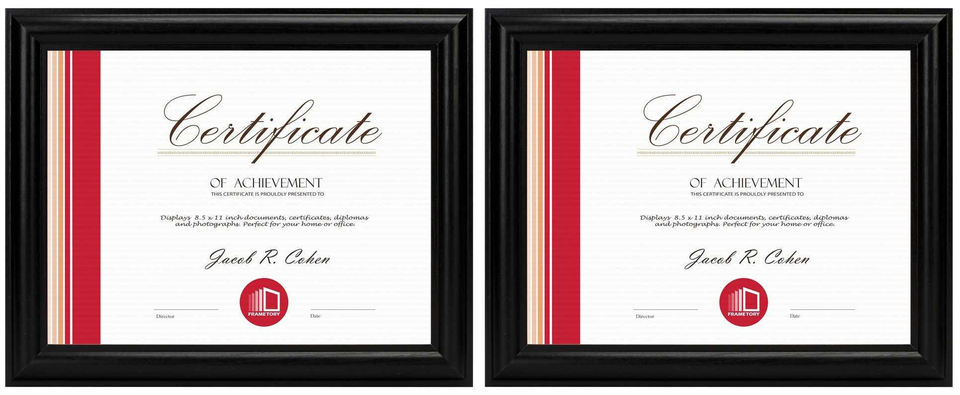 Frametory, Two 8.5x11 Black Frame Set - Curved Bevel Design - Made to Display 8.5x11 Certificate or Picture (2, Black, 8.5x11)