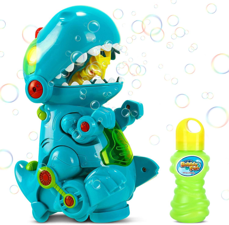 RenFox Máquina de Burbujas, Maquina pompas jabón, con Forma Graciosa de dinosario , Dos Modos de Caminar y quieto, Luz & Música & Movimiento, Juguete para niños, cumpleaños