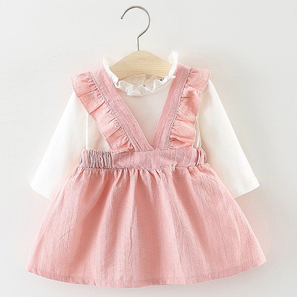 e323c2766 Amazon.com  XUANOU Girls Long Sleeve Bib Princess Dress Toddler Kids ...