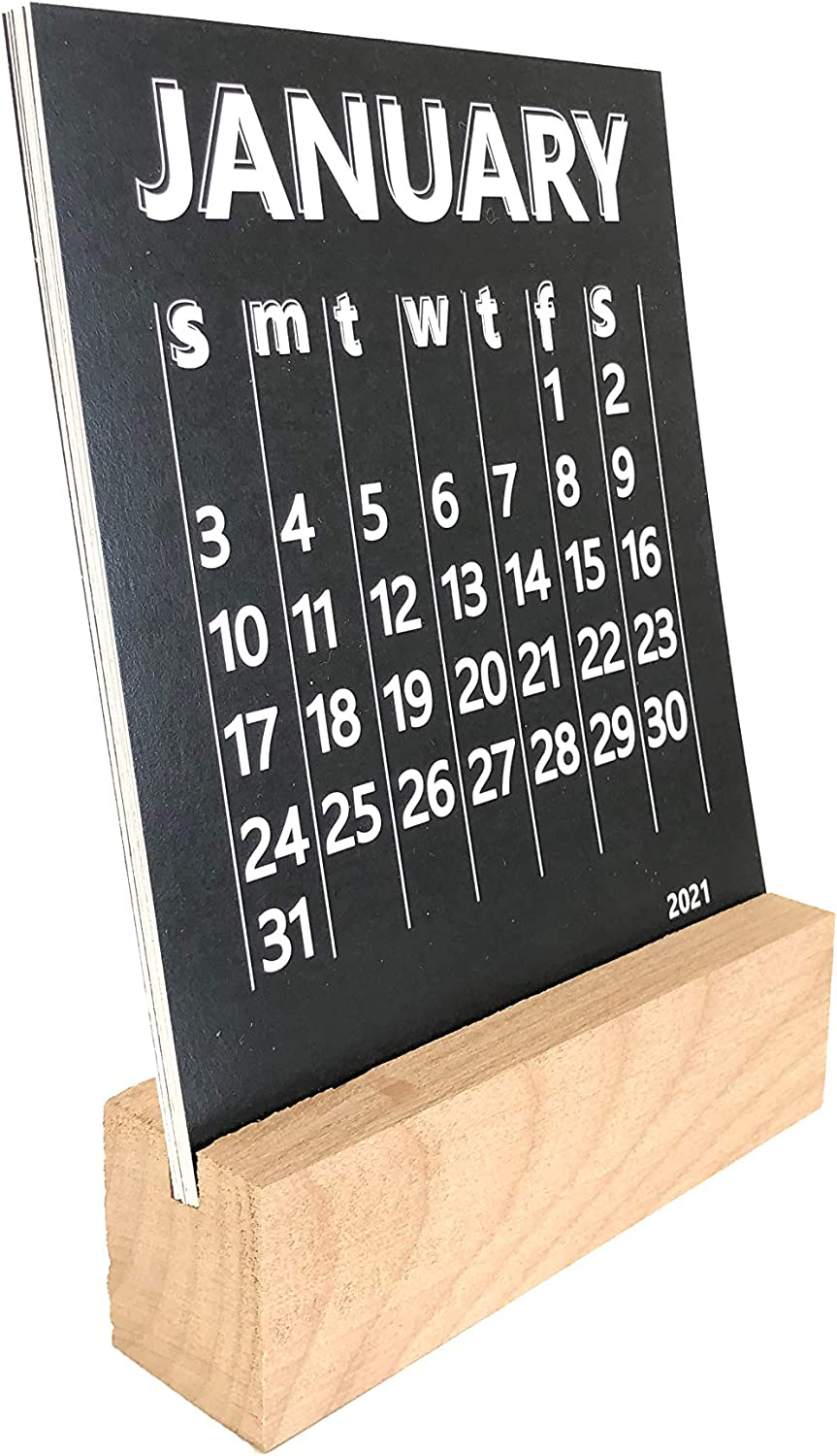 Petal Lane Desk Calendar 2021-12 Months Premium Thick Paper, Includes Wood Block Calendar for Desk - Cute Desk Decor for Office & Home (Black)