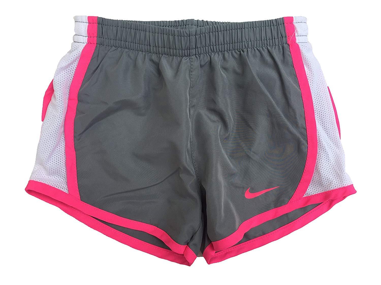 NIKE Girls' Dry Tempo Running Shorts (Cool Grey(267358-478)/Vivid Pink, 3T)