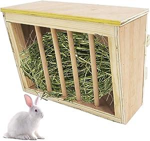 kathson Rabbit Hay Feeder Rack Wooden Food Feeding Manger Bunny Grass Holder Small Animals Less Wasted Food Dispenser for Rabbits Guinea Pig Chinchilla Hamster