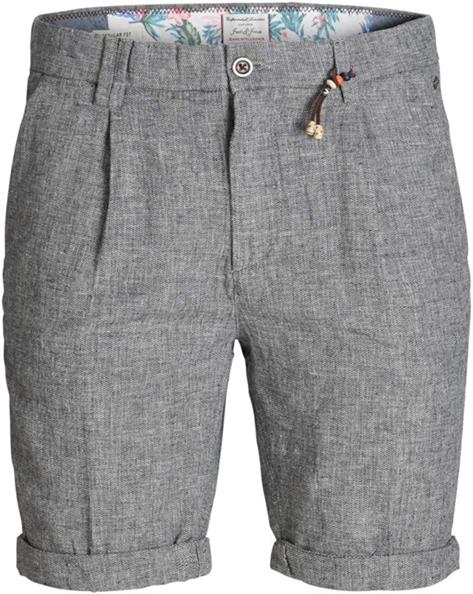JACK & JONES Bermuda Milton Uomo BLU Chino in Misto Lino con pinces 12151163
