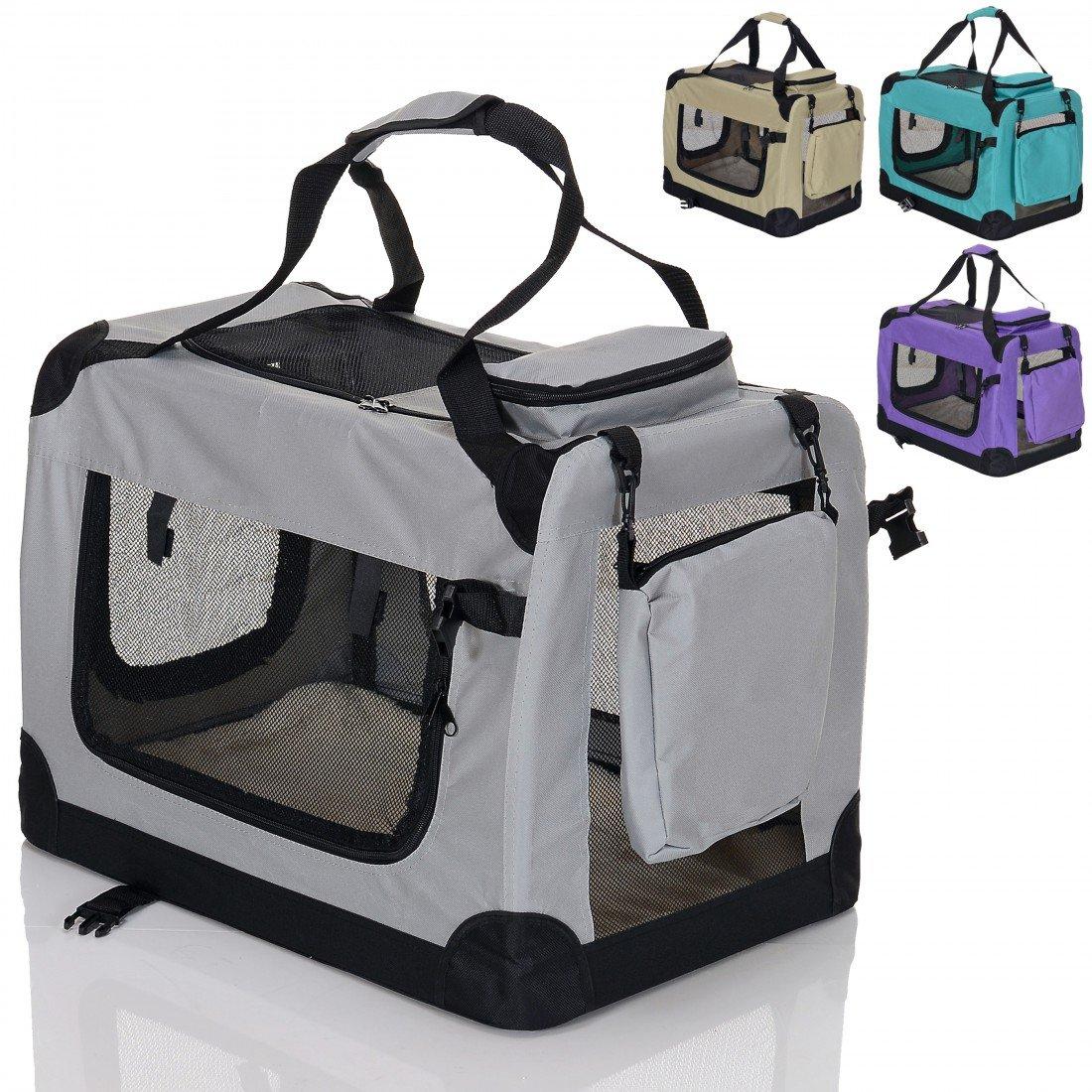 faltbare Hundebox Haustier Transportbox klappbare Autobox 82x60x60 cm gepolstert Katzen Henkel Tragetasche