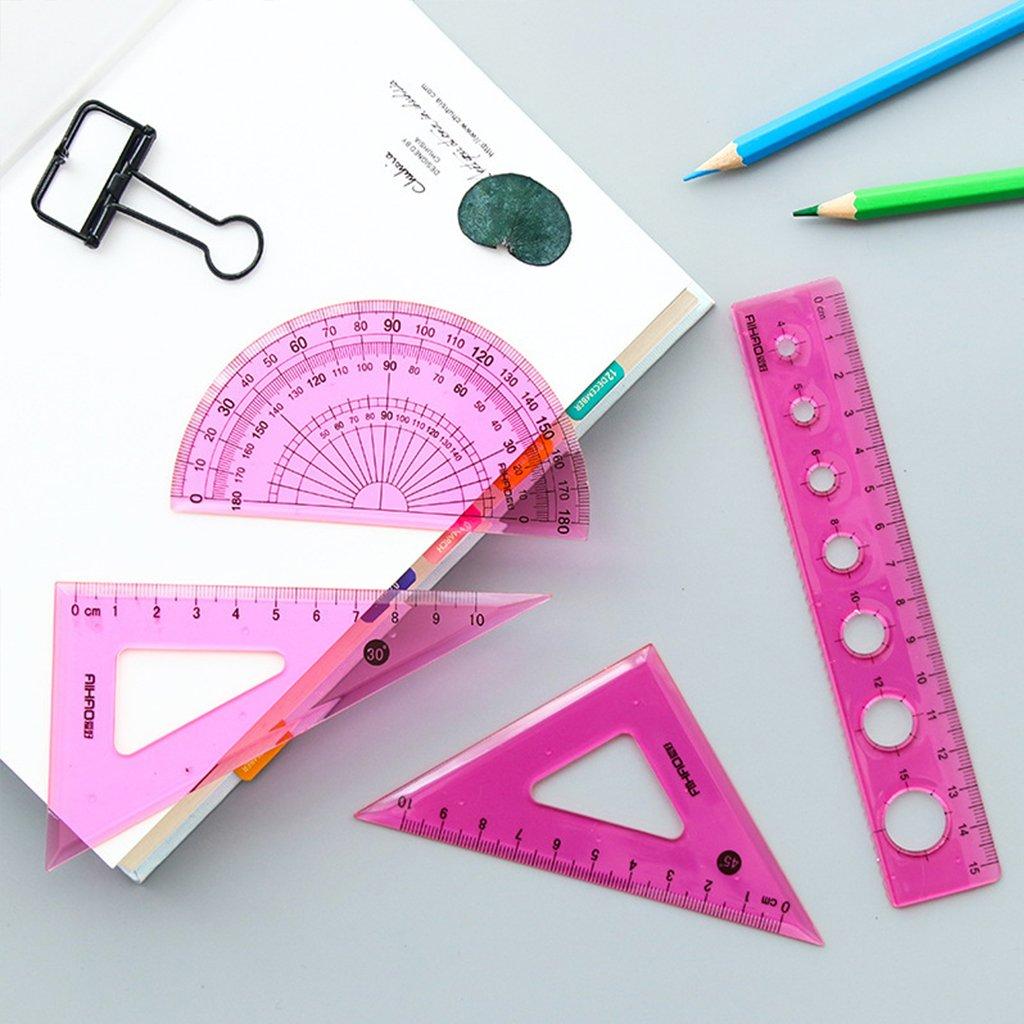 Schule B/üro Guociao 4-teiliges Lineal Lineal Winkelmesser Schreibwaren-Set