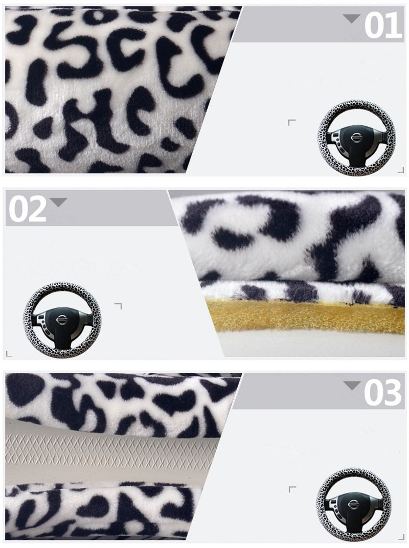 15 Leopard Print HCMAX 3 Pack Plush Vehicle Steering Wheel Cover Quality Comfy Winter Soft Car Steering Wheel Protector Universal Diameter 38cm