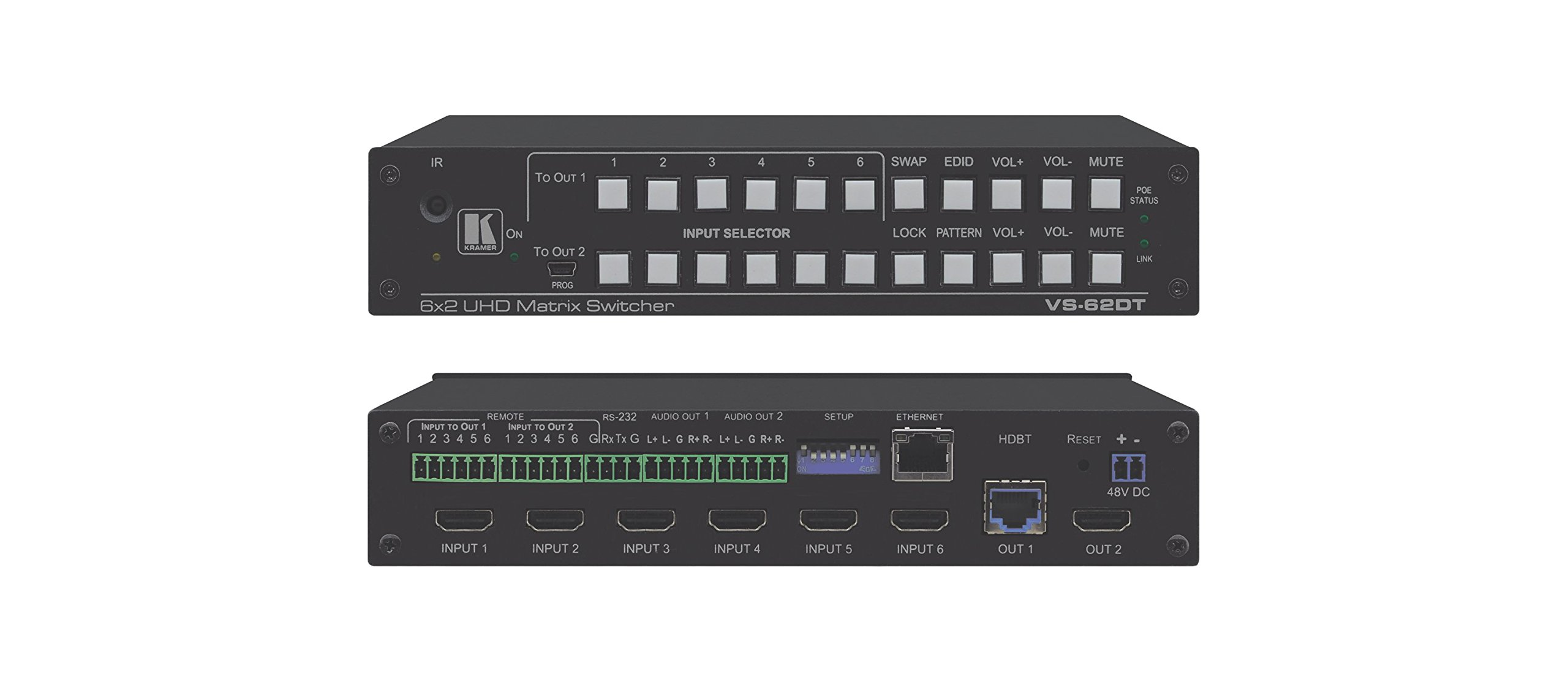 Kramer VS-62DT | 6 x 2 HDMI HDBaseT PoE Matrix Switcher