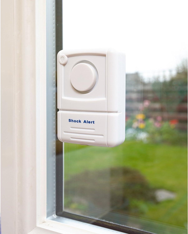 110dbs Sto/ßsensor-Technologie erkennt Zwangseintrag /& zerschlagenes Glas Defender Fenster Vibrationsalarm mit Diebstahl-Abschreckung Aufkleber
