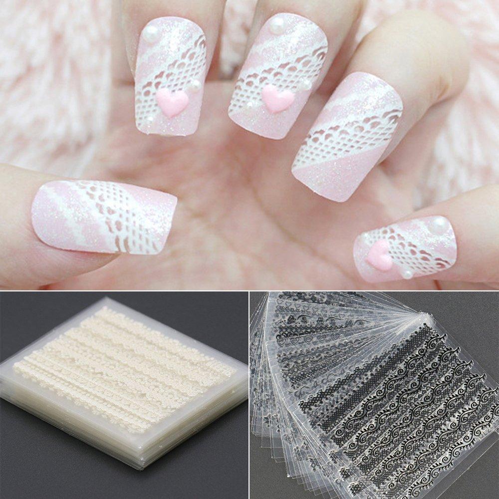 Bluelans® 60 Blatt 3D-Spitze-Nagel-Kunst-Aufkleber Schwarz und Weiß ...