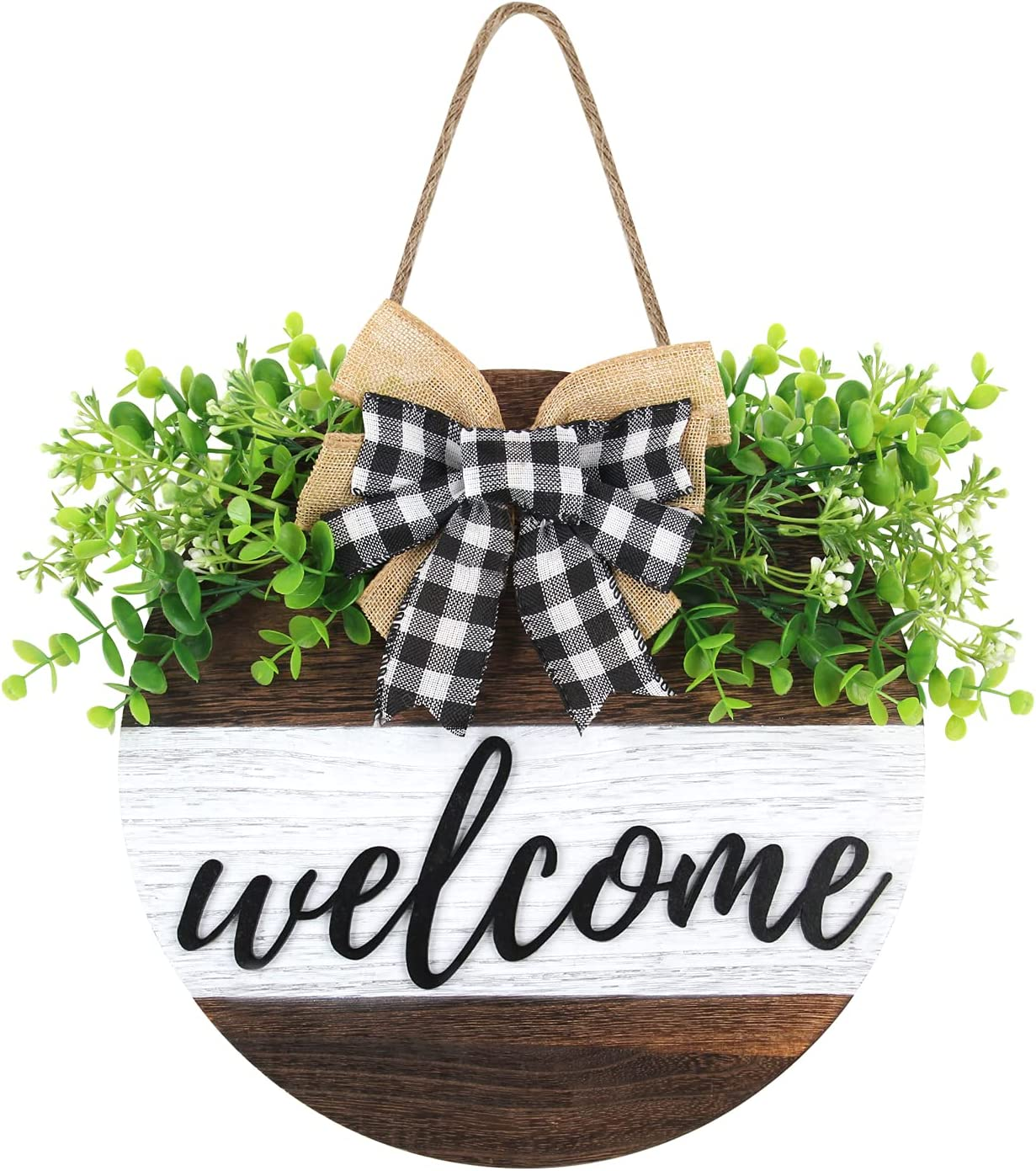 Welcome Sign Front Door Wall Decor, Round Wooden Sign Hanging Farmhouse Porch Front Decoration, Rustic Handmade Art Design with Burlap Bow for Spring Summer Bathroom Home Outdoor(Brown White)