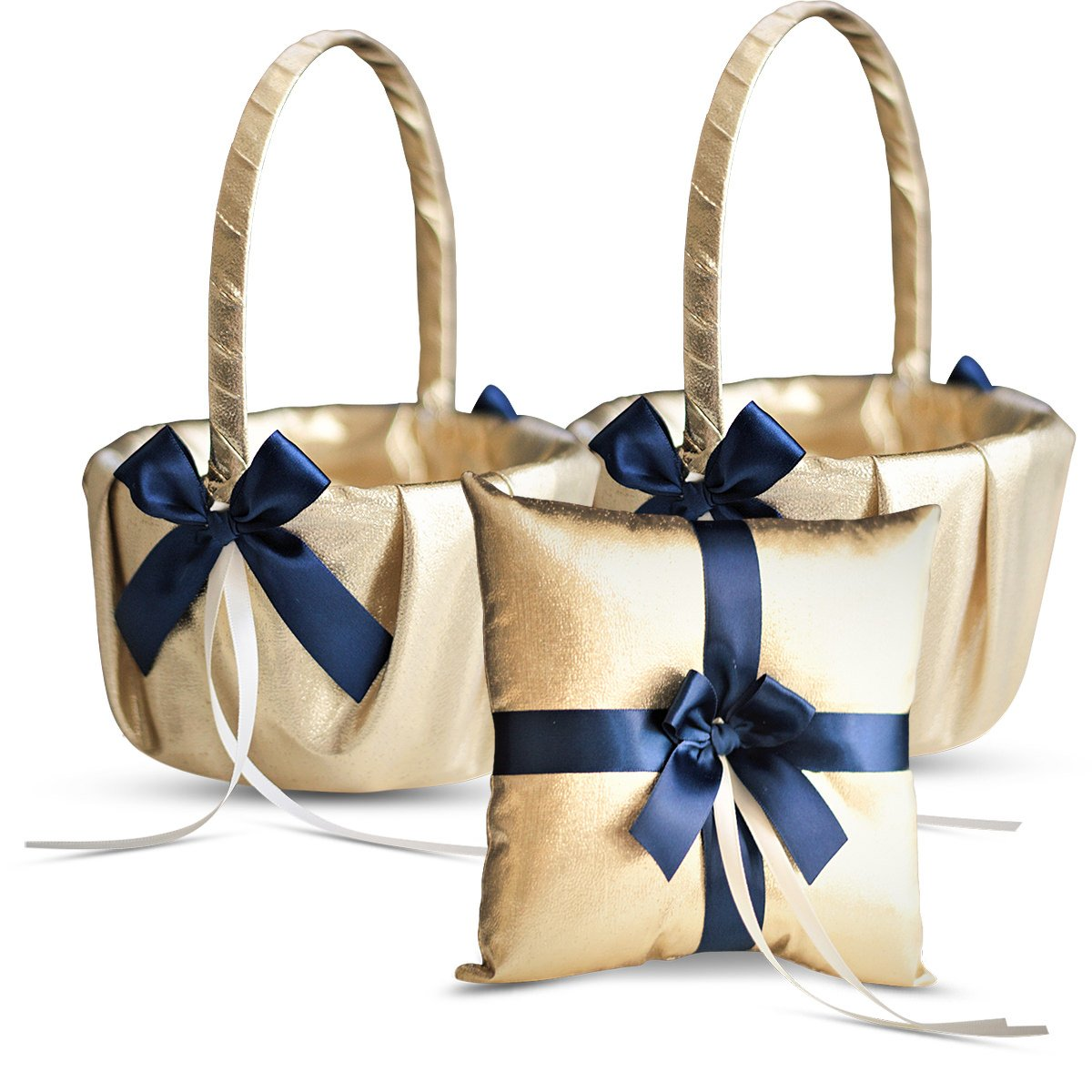 Roman Store Gold & Navy Blue Wedding Ring Bearer Pillow and Flower Girl Basket Set - Satin & Ribbons - Pairs Well with Most Dresses & Themes - Splendour Every Wedding Deserves