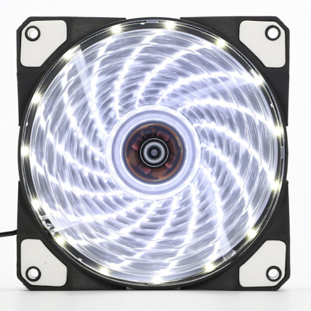 120mm PC Fan PC Case Cooling Fan 150LED Illuminating Super Silent Computer LED Cooler High Airflow CPU Cooling Fan(White Light)