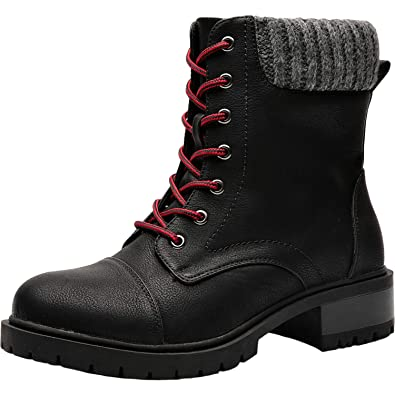 aa1f16c83106f Women s Wide Width Mid Calf Boots - Mid Low Heel Sweater Cuff Lace Up Ankle  Combat