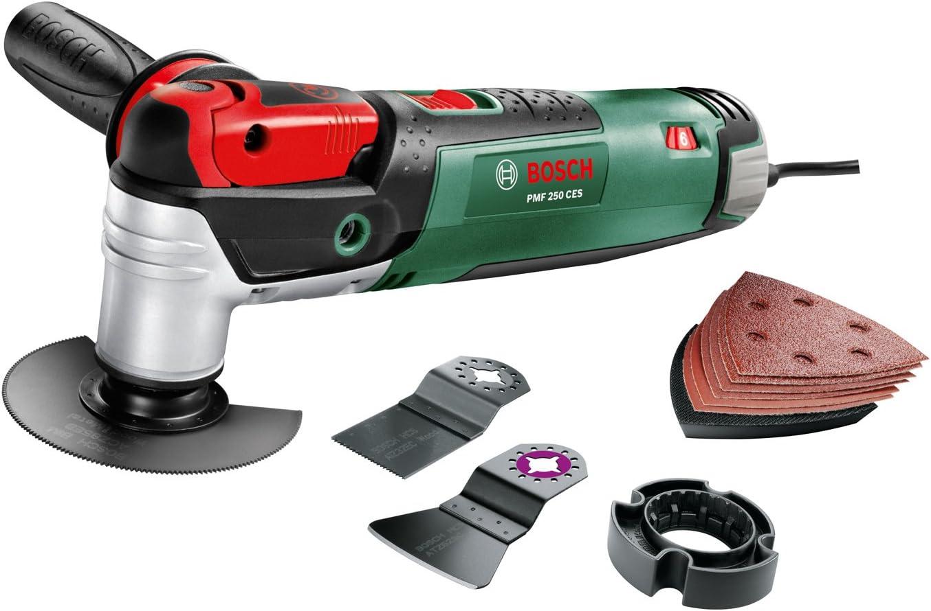 """Bosch Outil multifonction """"Expert"""" PMF 250 CES avec coffret, 6 accessoires et 1 set de feuilles abrasives 0603100600"""