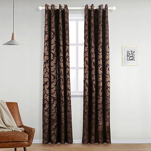 NAPEARL Curtain Panel Jacquard Semi-Blackout Grommet Home Drape Living Room Brown, 52 Wx96 L