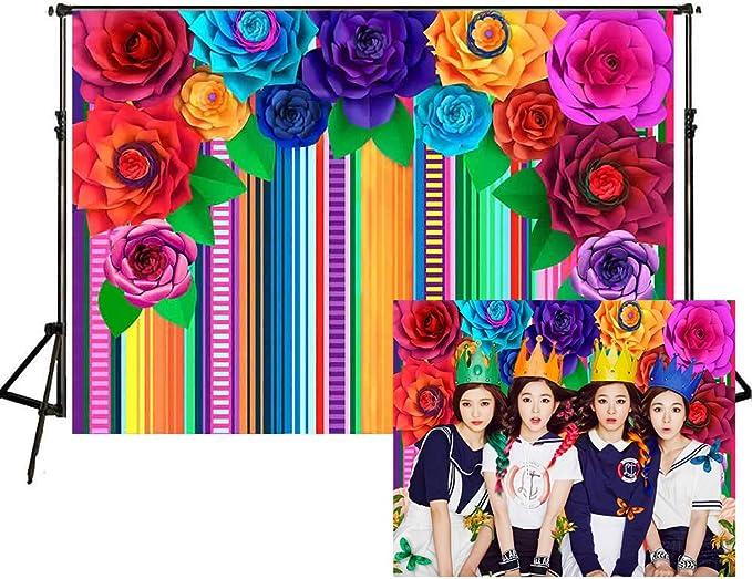 Leowefowa Cinco De Mayo Backdrop 6x6ft Cartoon Mexican Flag Saguaro Sombrero Buntings Vinyl Photography Background Fiesta Holiday Festival Parade Child Adult Photo Shoot Wallpaper