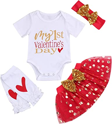 Newborn Baby Girls My First Valentine Day Outfit Set Long Sleeve Bodysuit