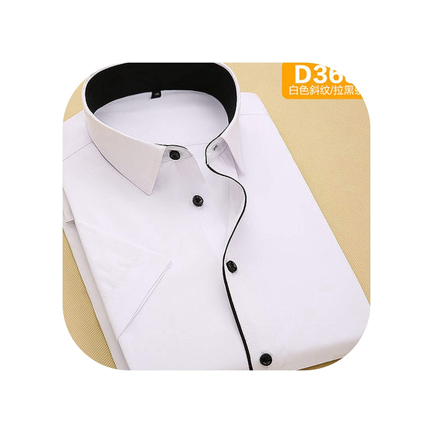 Striped Twill Short Sleeve White Red Blue Business Shirts Camisa