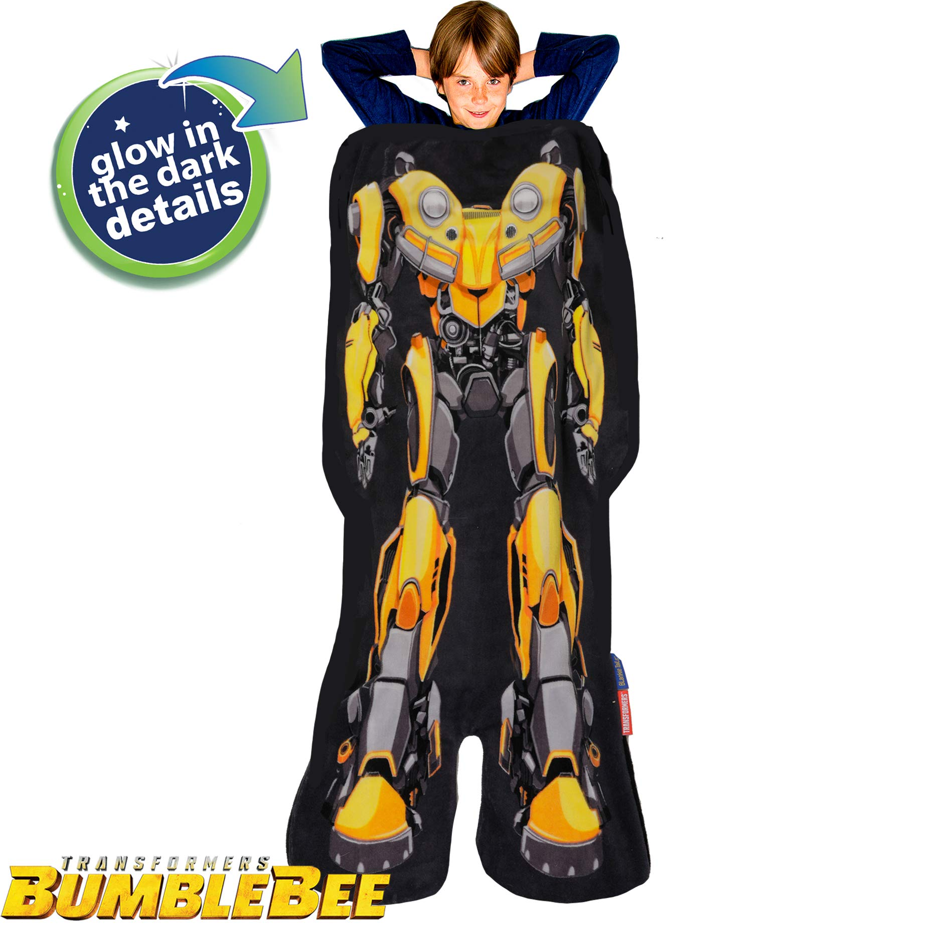Blankie Tails Transformers Glow in The Dark Bumblebee The Movie Shaped Blanket Super Soft-Double Sided Fleece Sized for Kids- Cozy Wearable Blanket_Make a Great Gift
