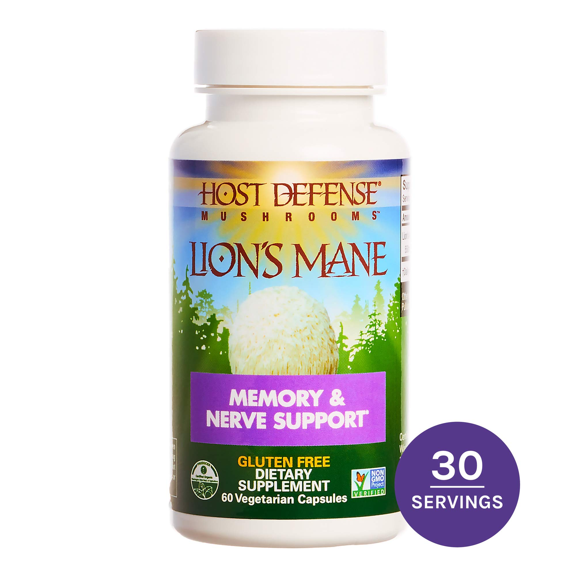 Host Defense - Lion's Mane Mushroom Capsules, Natural Support for Mental Clarity, Focus, Memory, Cerebral and Nervous System Health, Non-GMO, Vegan, Organic, 60 Count by Host Defense
