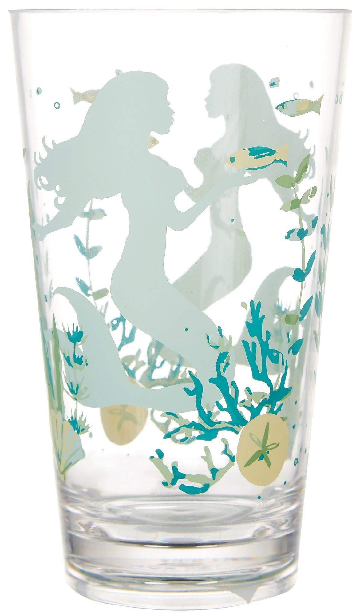 Tropix 22 oz. Mermaid Wishes Highball Glass One Size Aqua blue/yellow