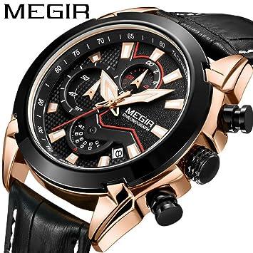 0a09004b0aca 2065 G Megir para Hombre Fashion Casual clásico Calendario de Cuarzo y cronógrafo  automático Reloj de Pulsera de Cuero Fecha  Amazon.es  Electrónica