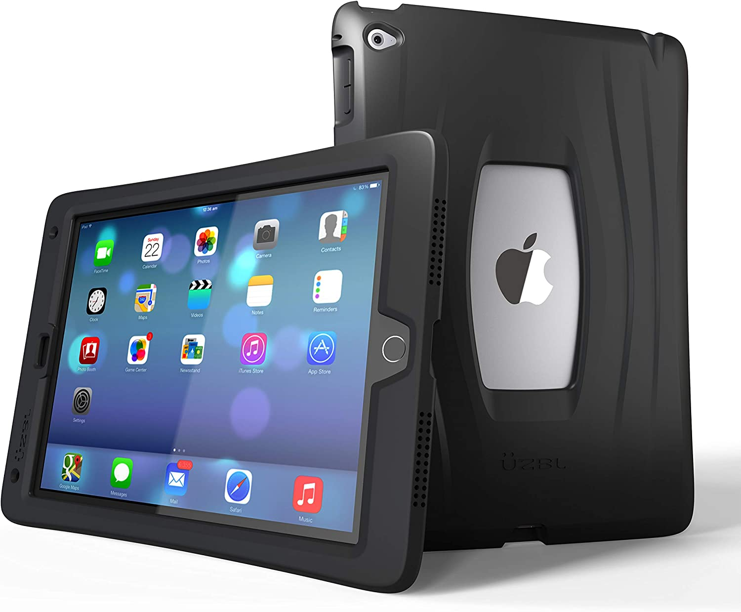 UZBL iPad Mini 5 2019 Case, AirWave Slim Lightweight Heavy Duty 1-Piece Silicone Case with Air Cell Drop Protection, for Apple iPad Mini 5th Generation, Midnight Black