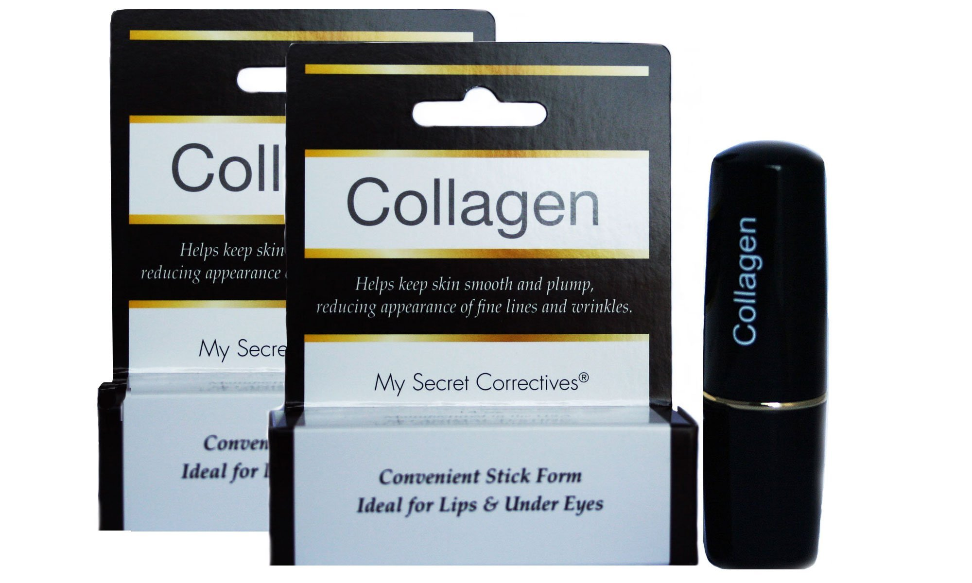 Collagen Under Eye Treatment Stick TWO PACK - Ideal for crow's feet, lip wrinkles - anti-wrinkle, anti-aging, dark circle removal, relieves eye puffiness and fine wrinkles - 2 x 0.14 ounces
