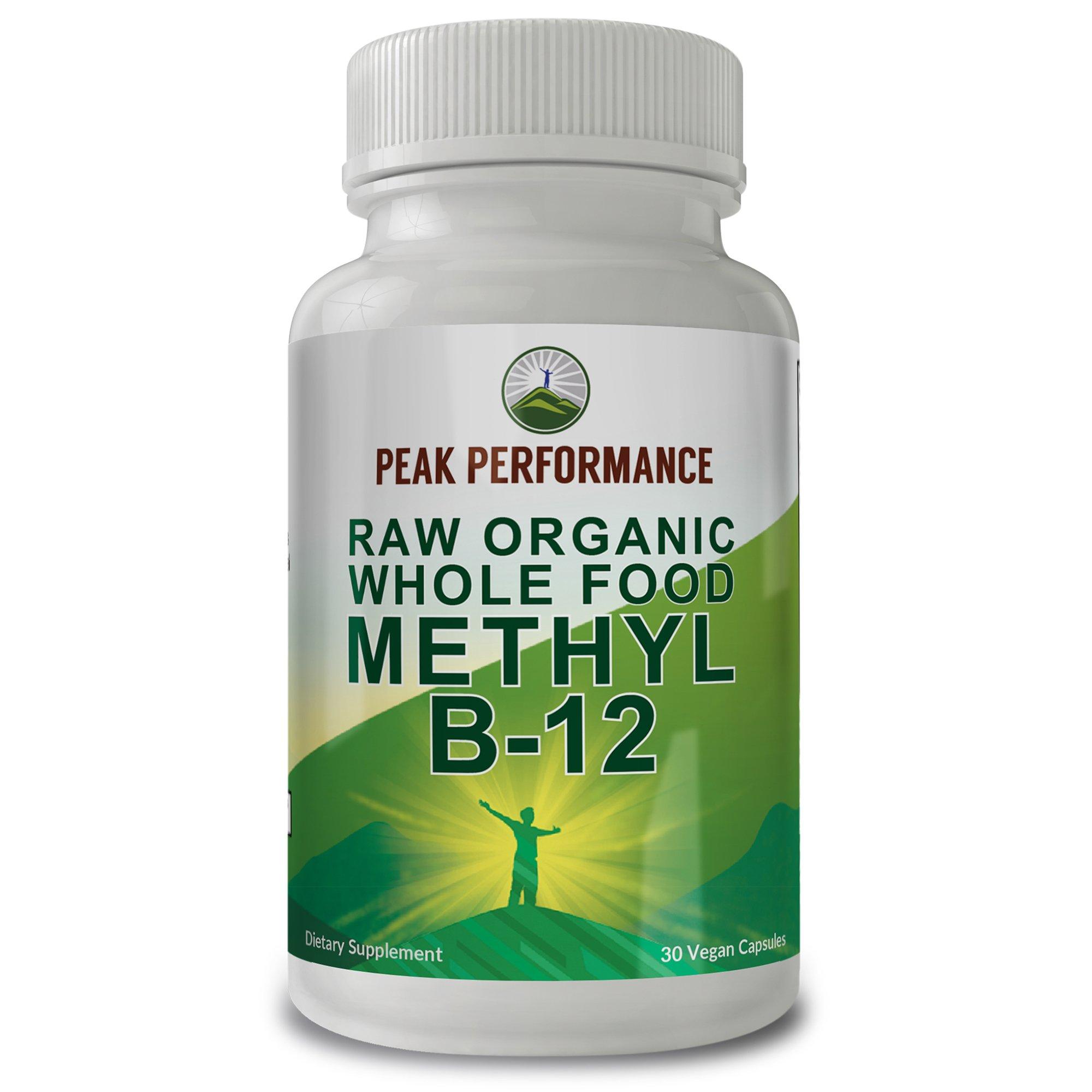 Raw Organic Whole Food B-12 by Peak Performance. Methylcobalamin (Methyl B12) Supplement with 25+ Organic Fruit & Vegetable Ingredients. 30 Vegan Capsules. for Healthy Brain and Nervous System