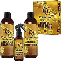 Argan Oil Hair Treatment Gift Set - 3 Value Pack: Morrocan Argan Oil Shampoo 8oz Conditioner 8 oz & Hair Heat Protectant Spray 4oz Sulfate Free Natural Damaged Hair Growth Repair Deep Conditioning