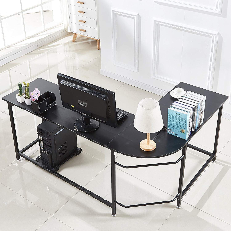 Amazon com hago modern l shaped desk corner computer desk home office study workstation wood steel pc laptop gaming table home kitchen