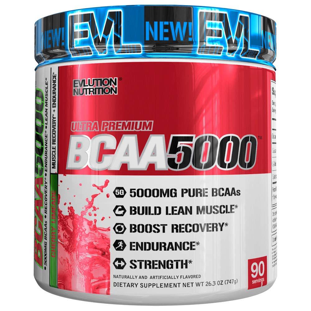 Evlution Nutrition BCAA5000 Powder 5 Grams of Premium BCAAs (90 Servings, Cherry Limeade)