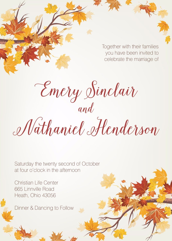 Autumn Wedding Invitation Template Muskoka |Fall Leaves Wedding Invitations