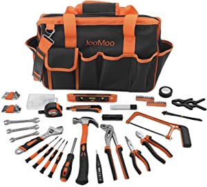JooMoo 169 Piece Tool Sets for Man, Home Household Basic Repair Hand Tool Kit with 16 Inch Wide Mouth Open Storage Carrying Bag, Perfect for DIY, Home Maintenance.