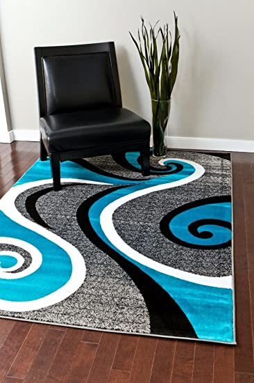 Preferred Amazon.com: 0327 Turquoise White Gray Black 5'2x7'2 Area Rug  CE36