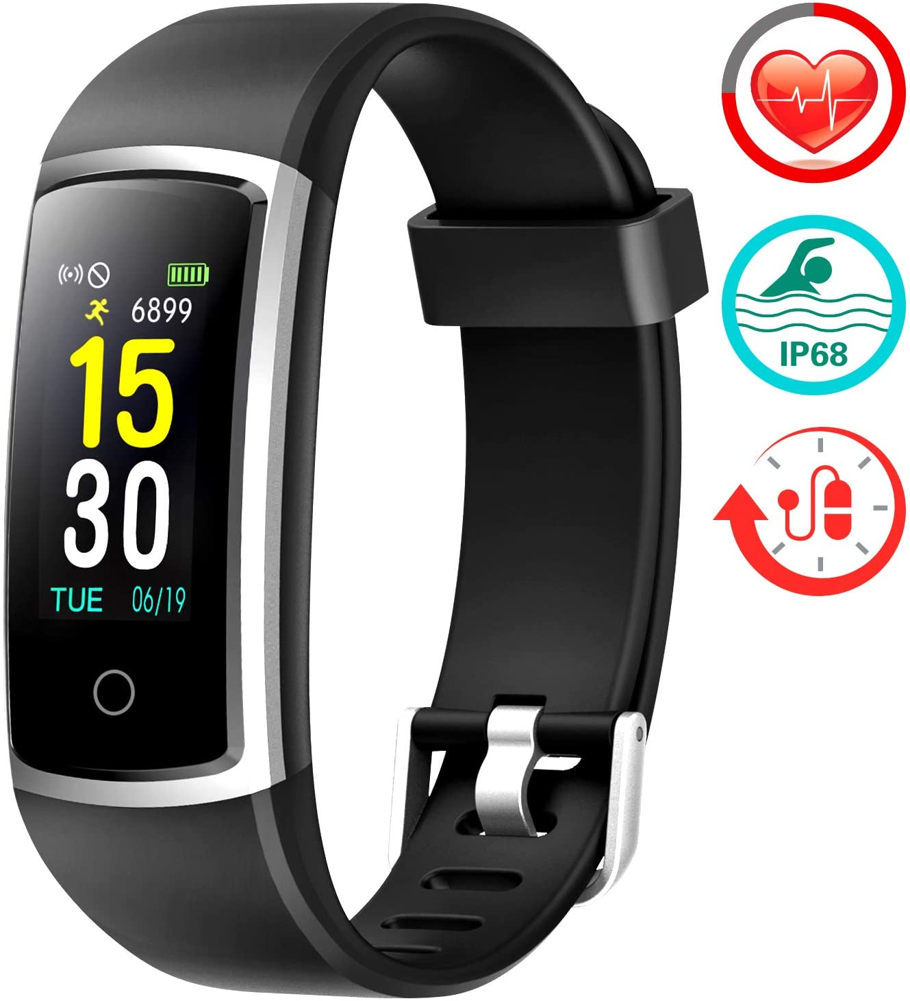 FITFORT Fitness Tracker with Blood Pressure HR Monitor