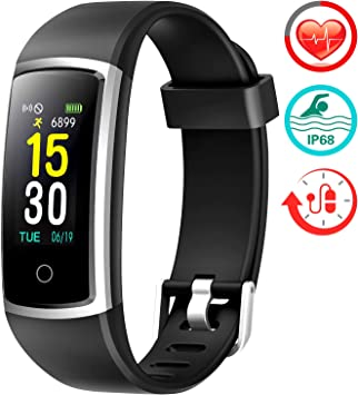FITFORT Fitness Tracker with Blood Pressure HR Monitor - 2019 Upgraded Activity Tracker Watch with Heart Rate Color Monitor IP68 Pedometer Calorie ...