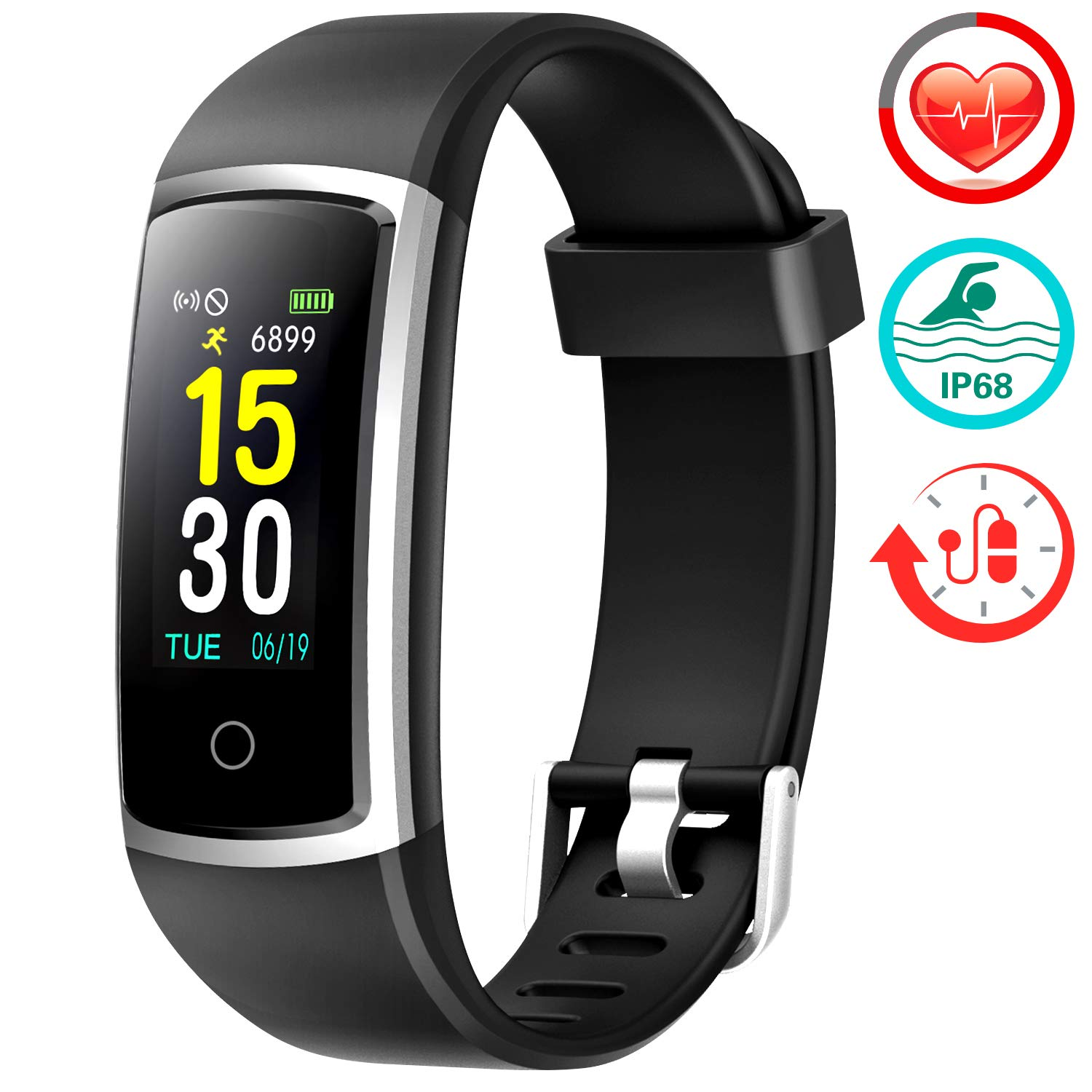 FITFORT Fitness Tracker with Blood Pressure HR Monitor – 2019 Upgraded Activity Tracker Watch with Heart Rate Color Monitor IP68 Pedometer Calorie Counter and 14 Sports Tracking for Women Kids