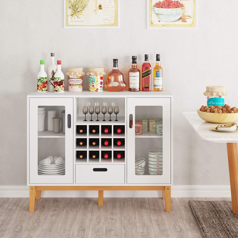Amazon.com: HOMECHO - Aparador de madera con 12 botellas de ...