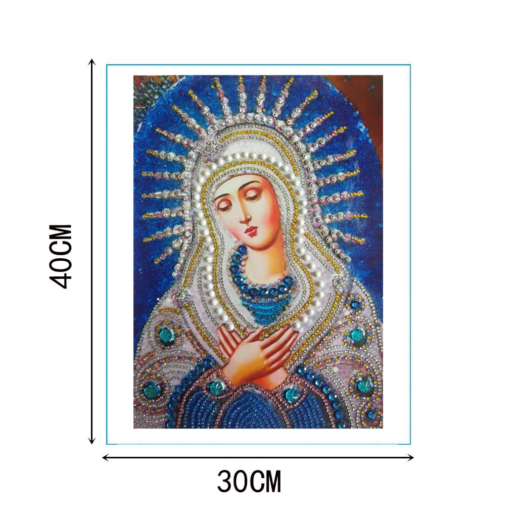 Special Shaped Diamond Painting Madonna - Franterd DIY 5D Partial Drill Cross Stitch Kits Crystal Rhinestone of Picture Diamond Embroidery Mosaic Arts Craft Home Wall Decor by Franterd Home Decor (Image #3)