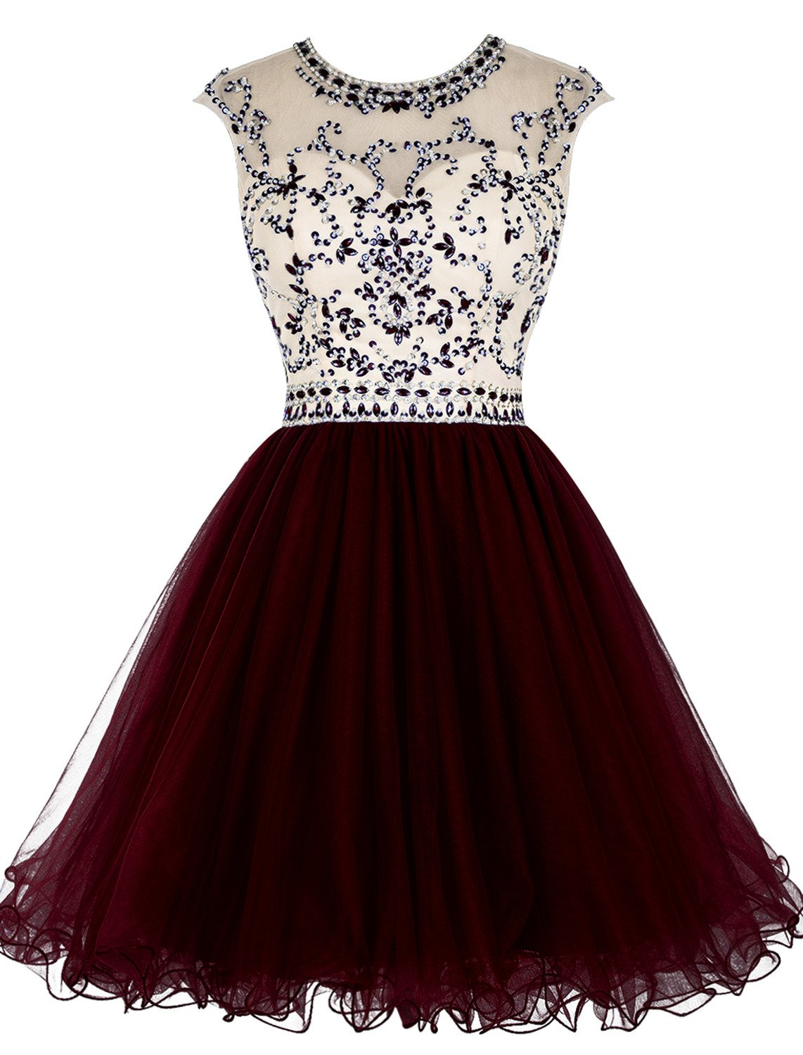 ALAGIRLS Beaded Prom Dress Short Tulle Homecoming Dress Hollow Back Burgundy US18Plus