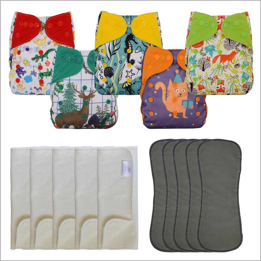 5-Pack Double Gusset Cloth Diaper Covers with Bamboo Cotton Prefolds (Unisex, One Size)