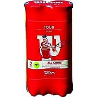 Wilson Tour Comp Pelotas de tenis, 2 tubos con 4 pelotas cada uno, para superficies duras, amarillo
