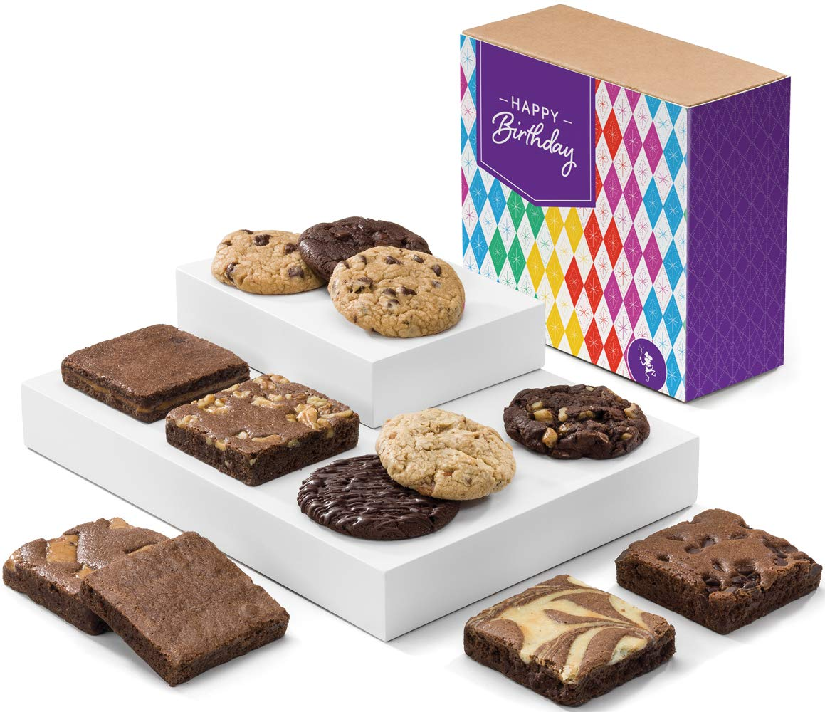 Fairytale Brownies Birthday Cookie & Brownie Combo Gourmet Chocolate Food Gift Basket - 3 Inch Square Full-Size Brownies And 3.25 Inch Cookies - 12 Pieces - Item CB313