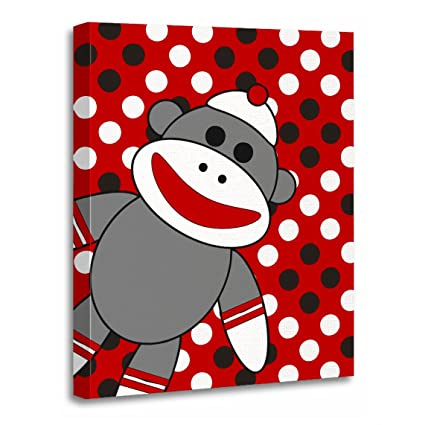 Torass Canvas Wall Art Print Childs Sock Monkey Nursery Room Kids Baby Artwork For Home Decor 12 X 16