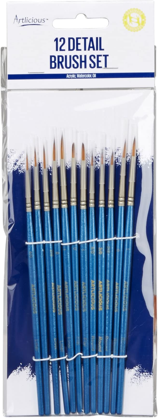 Artlicious Acrylic 12 Hand Made Miniature Brushes for Detail Painting Oil Watercolor