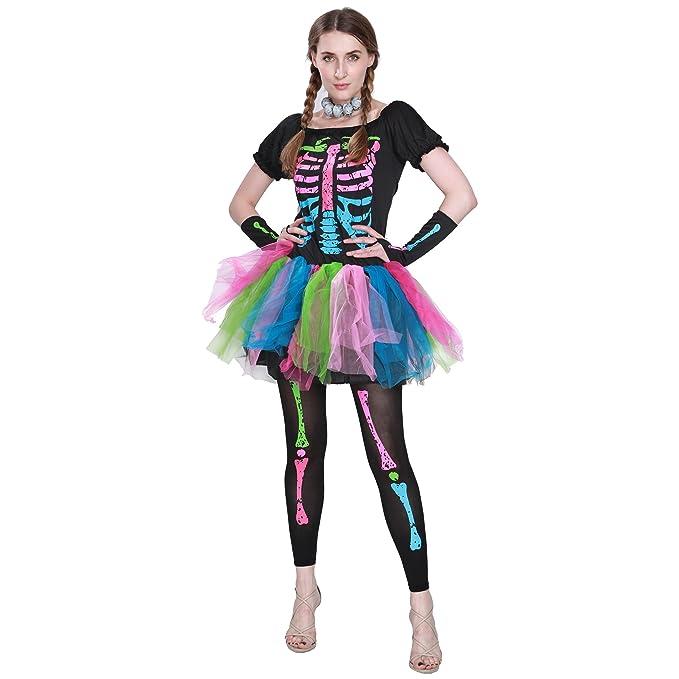 EraSpooky Women Funky Punk Bones Costumes Skeleton Colorful Tutu Dress
