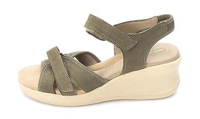 Easy Spirit Frauen Gaffney Offener Zeh Leger Leder Sandalen mit Keilabsatz