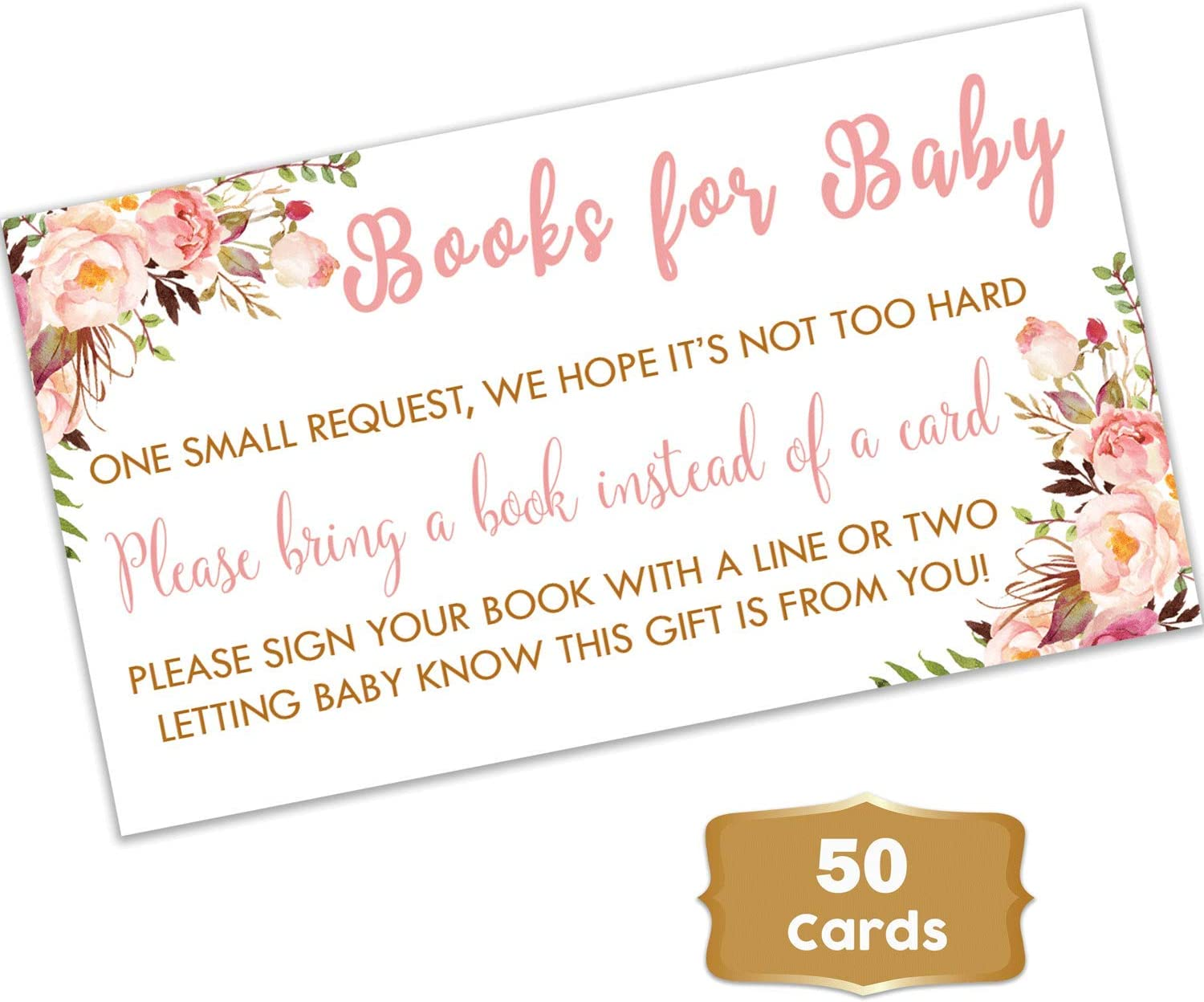 Boho Floral – Baby Shower Floral Books for Baby Request Cards 50 Count Girl Baby Shower Books for Baby Pink Flowers Books for Baby Shower Fun Baby Shower Activities